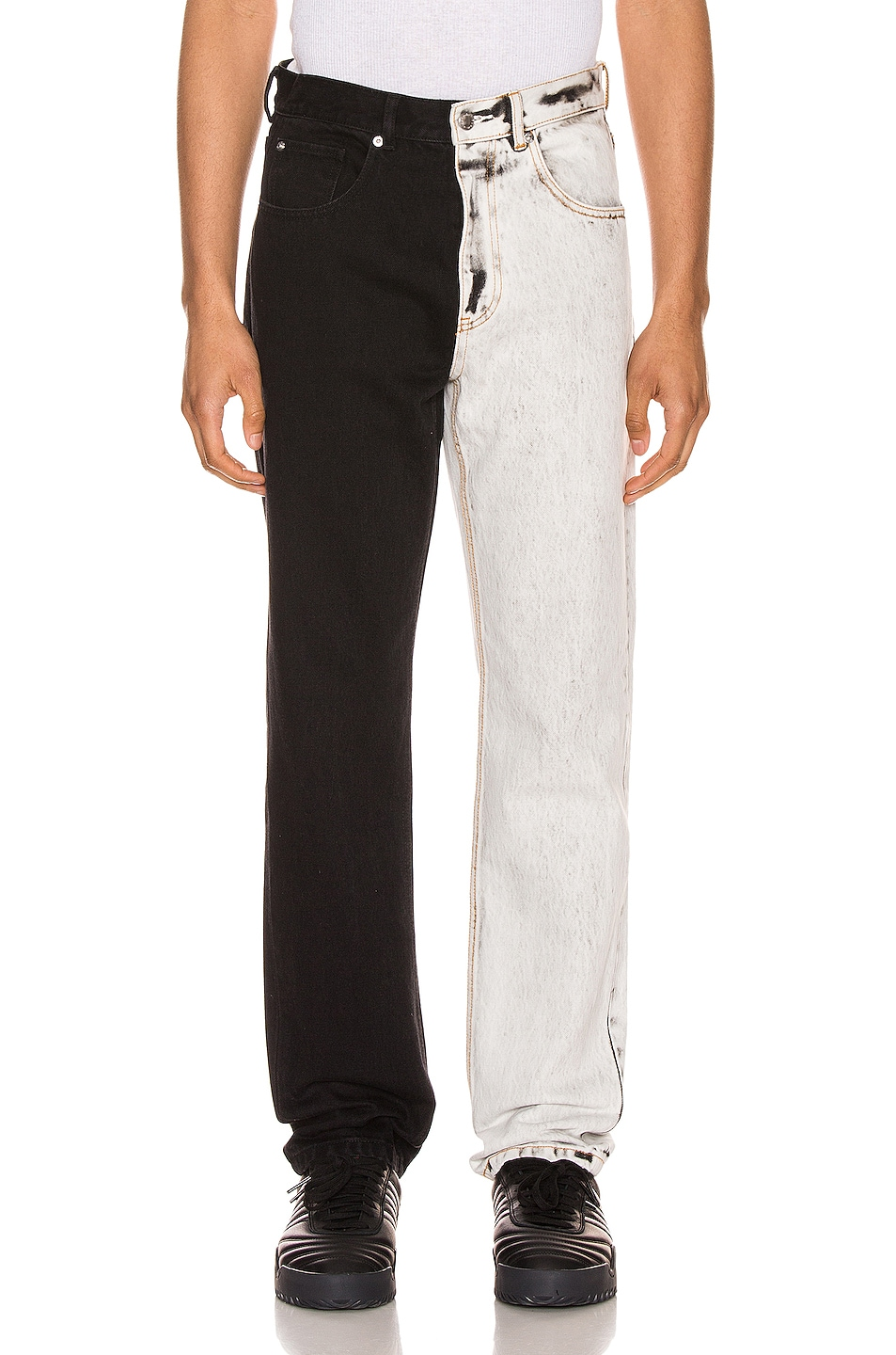 Image 1 of Alexander Wang Bicolor Denim Trouser in Acid White