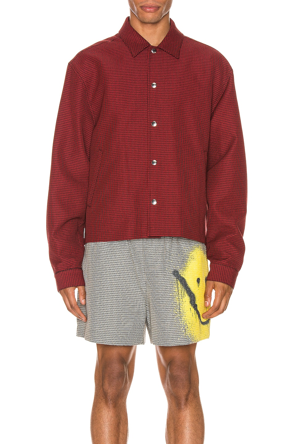 Image 3 of Alexander Wang Suiting Coaches Jacket in Red & Black