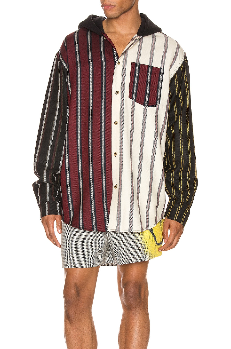 Image 1 of Alexander Wang Locharron Shirt w/ Hood in Multi Stripe