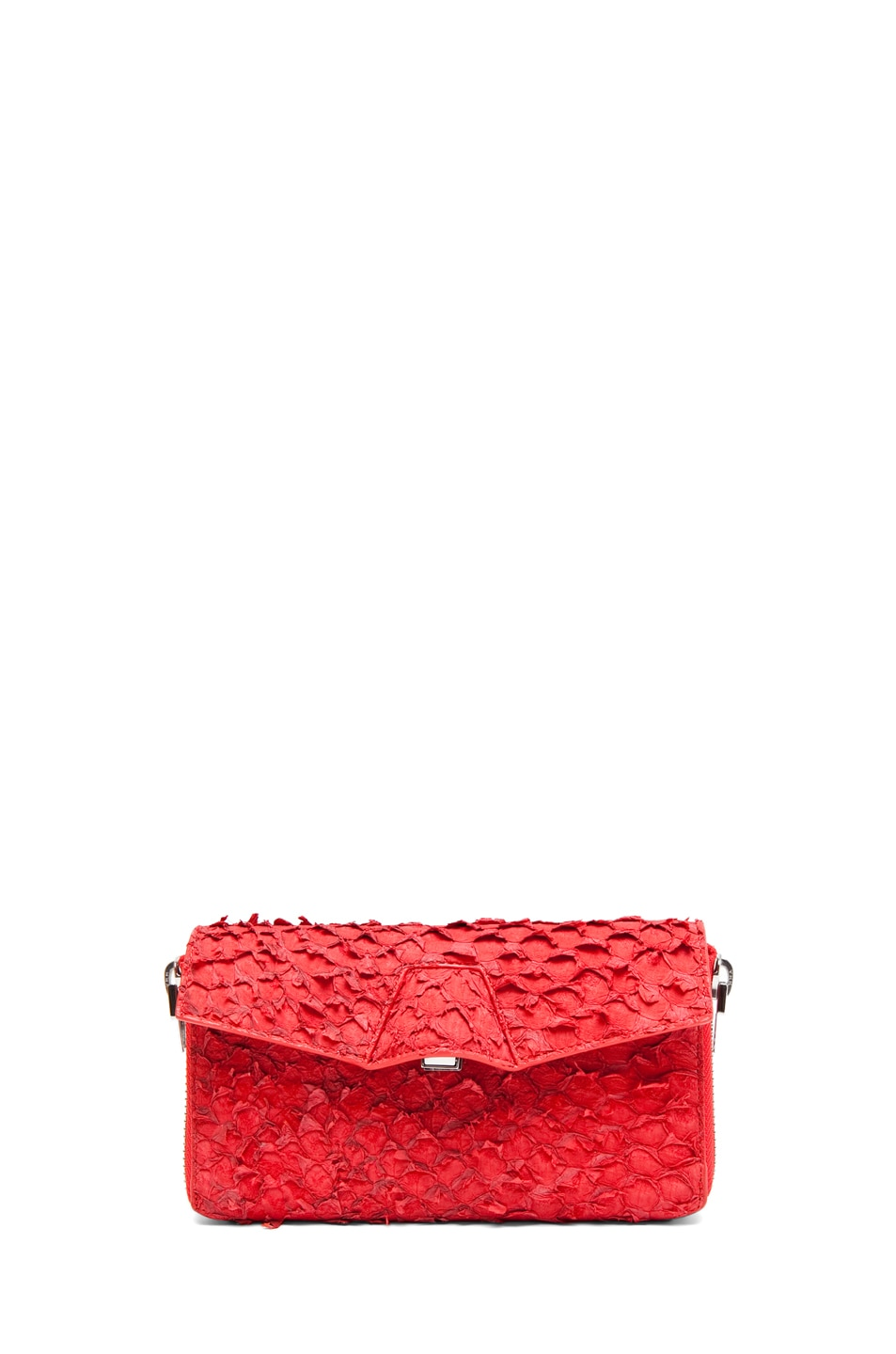 Image 1 of Alexander Wang Quillon Long Compact Perch Wallet in Persimmon