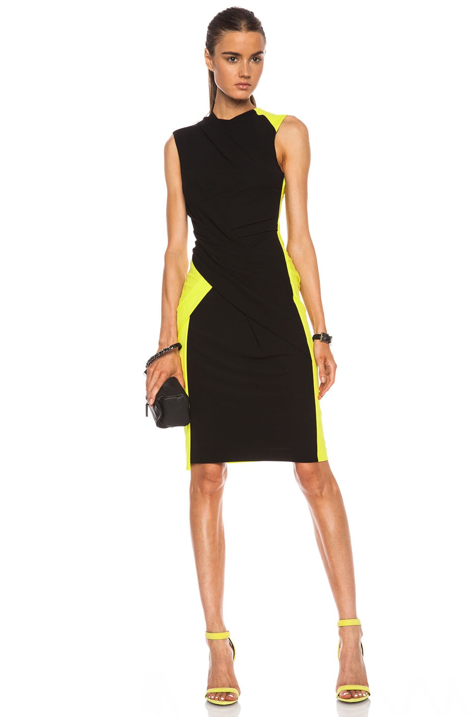 Image 1 of Alexander Wang Twist Drape Color Block Viscose Dress in Citrine