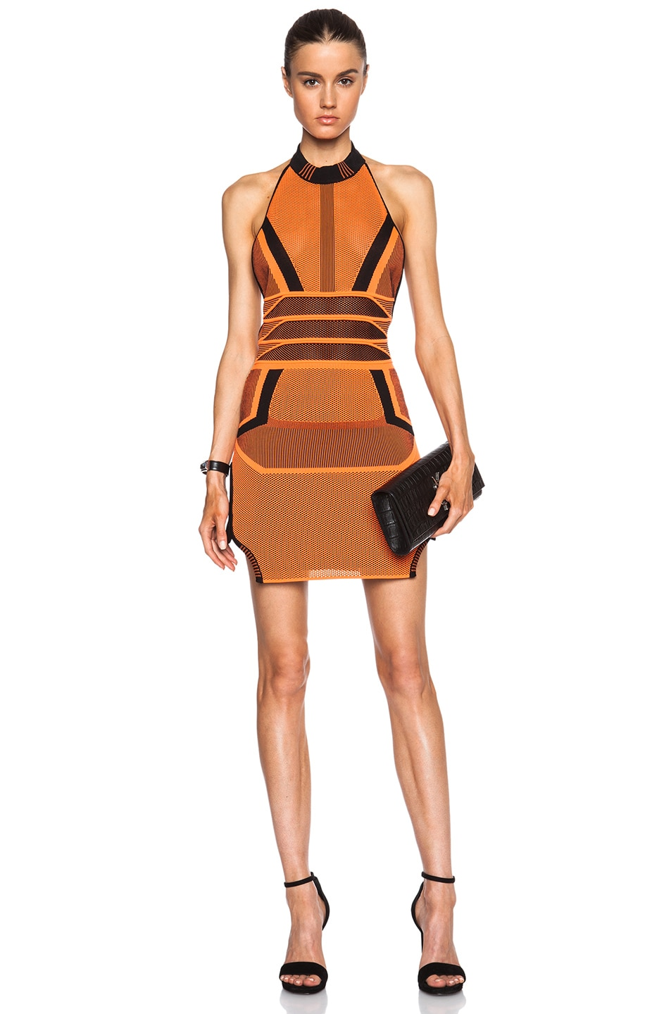 Image 1 of Alexander Wang Bi Color Mesh Halter Dress in Acid