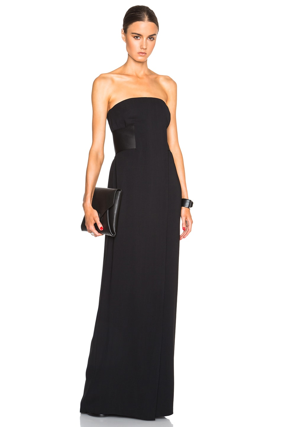 Image 1 of Alexander Wang Strapless Gown with Satin Belt in Nocturnal
