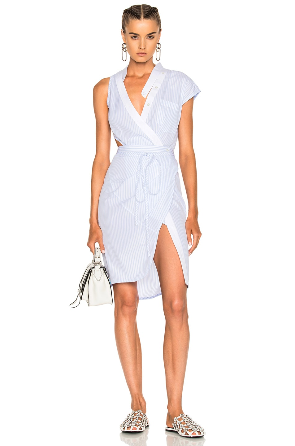21aa5c3f69 Image 1 of Alexander Wang Asymmetric Deconstructed Shirt Wrap Dress in  Oxford Multi