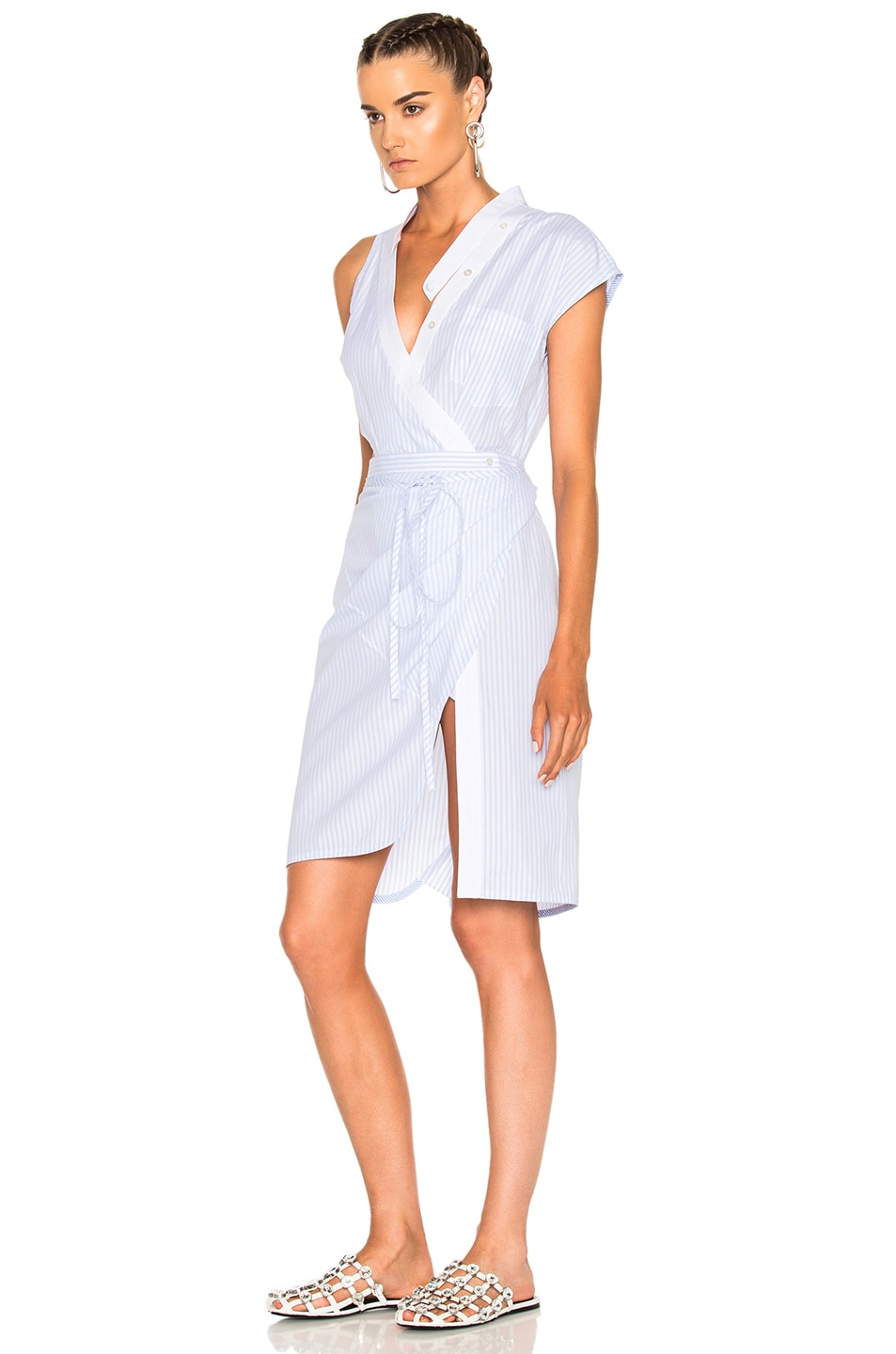 455143986c Image 2 of Alexander Wang Asymmetric Deconstructed Shirt Wrap Dress in  Oxford Multi