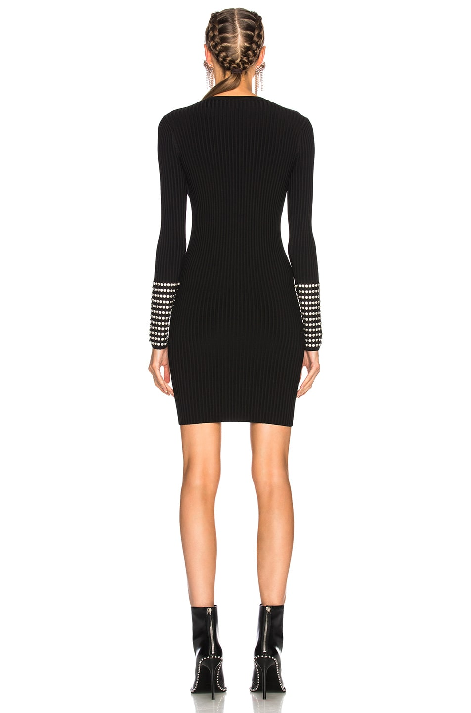 b7a8520a8be85 Image 3 of Alexander Wang Long Sleeve Dress with Crystal Cuff Detail in  Black