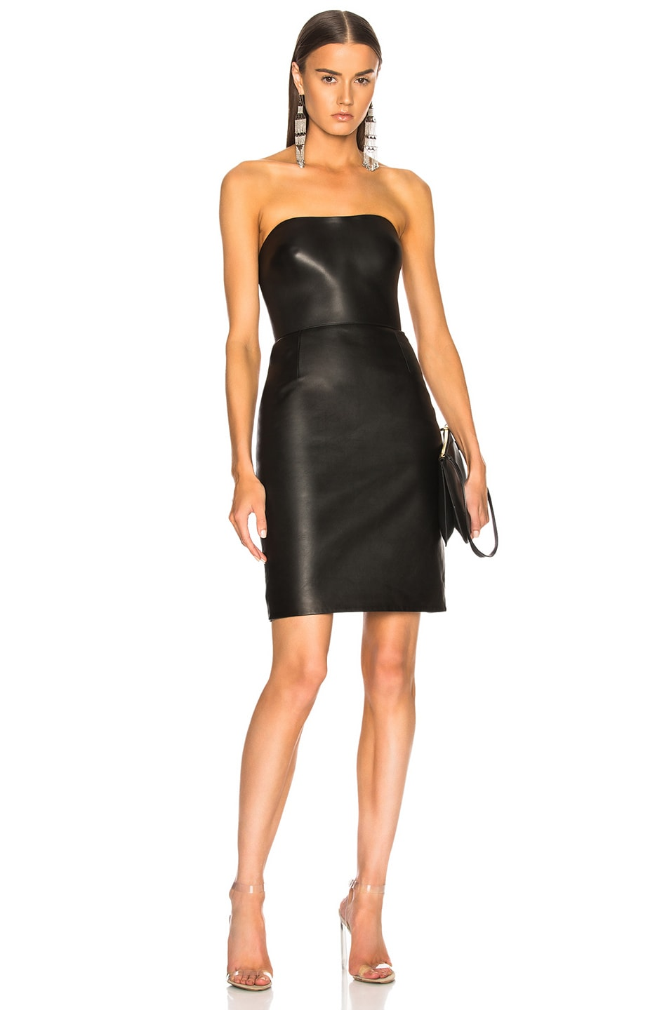 4bf0e264a7d Image 1 of Alexander Wang Leather Bustier Dress in Black