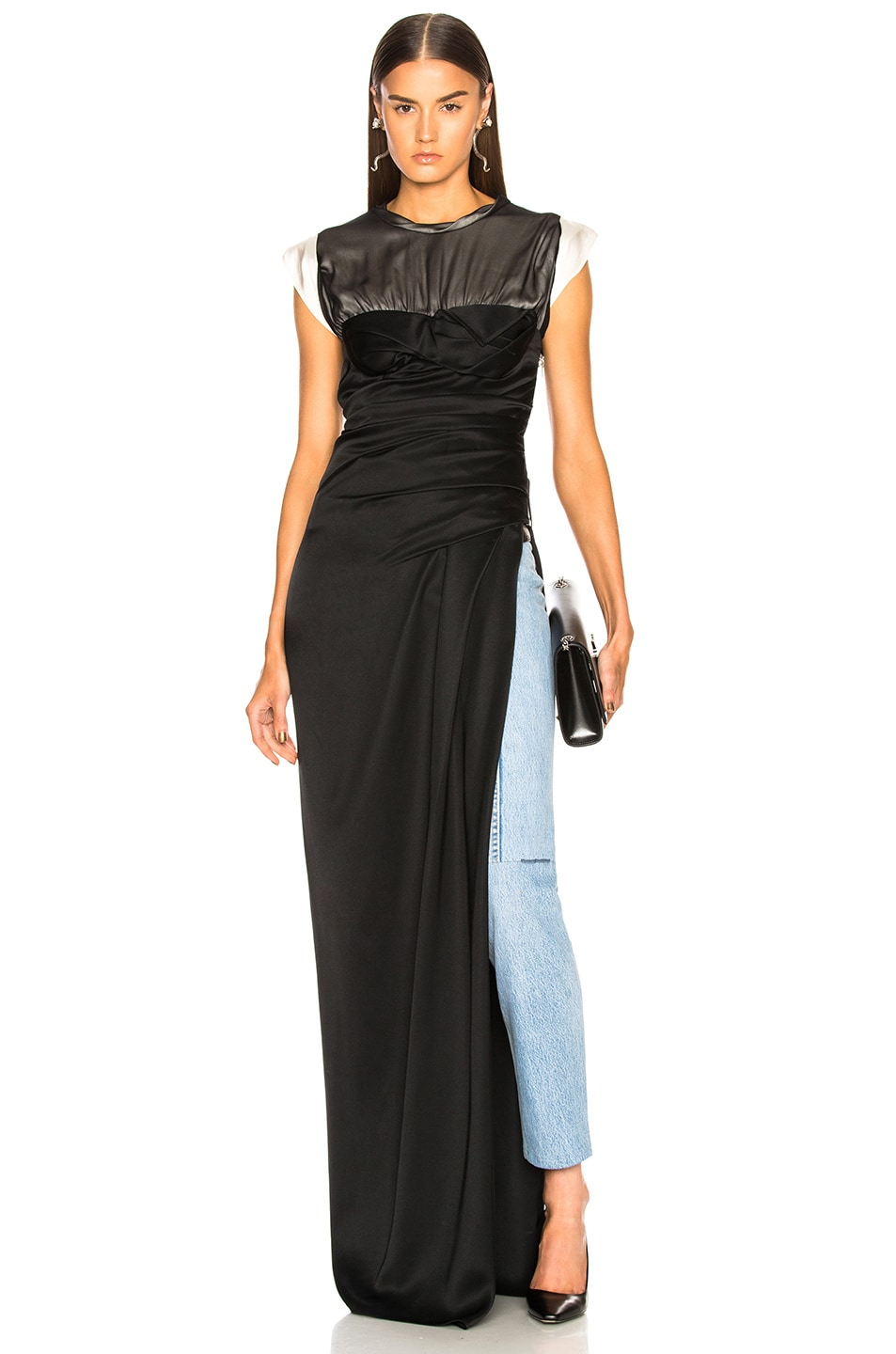 Alexander Wang Twisted Cup Evening Dress in Black,Gray