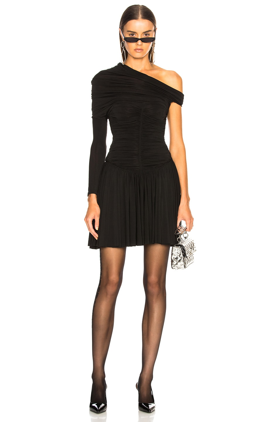 Image 1 of Alexander Wang Rouched Mini Dress in Black