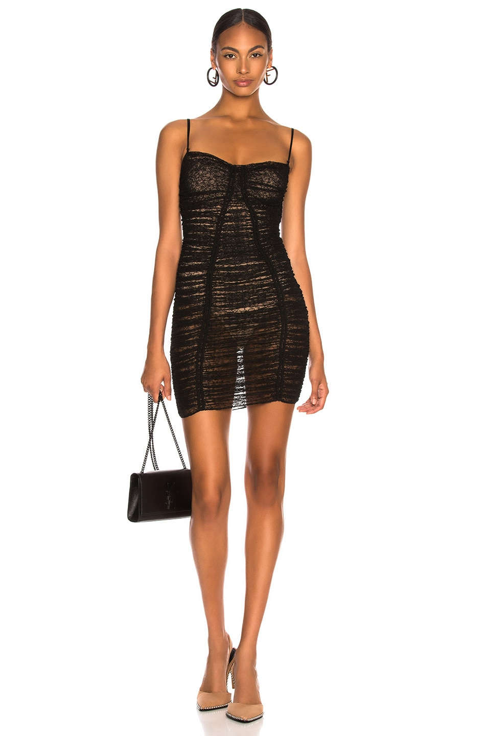 Image 1 of Alexander Wang Ruched Sheer Bodycon Dress in Black