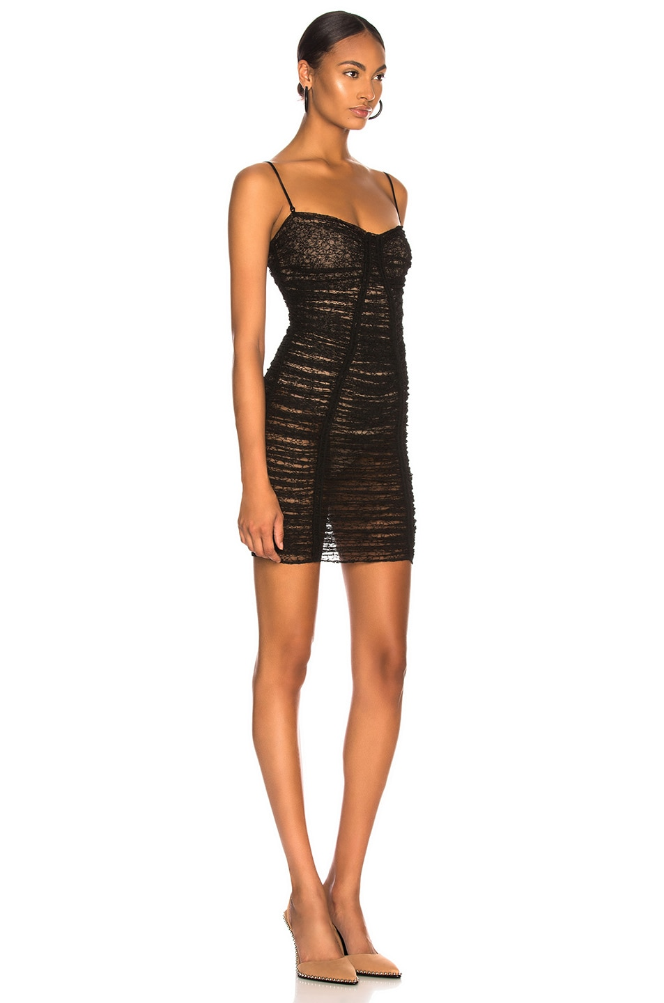 Image 2 of Alexander Wang Ruched Sheer Bodycon Dress in Black