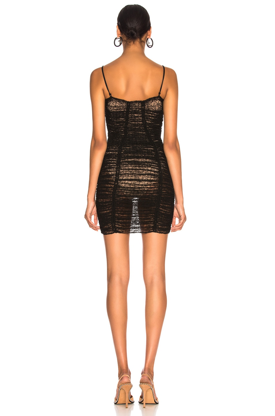 Image 3 of Alexander Wang Ruched Sheer Bodycon Dress in Black