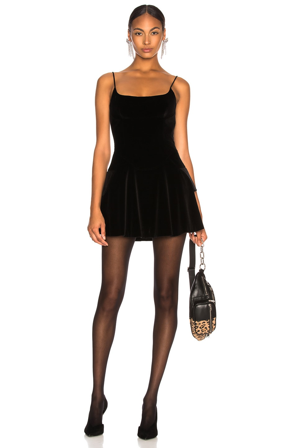 2cc2d180ad6 Image 1 of Alexander Wang Velvet Fit and Flare Mini Dress in Black