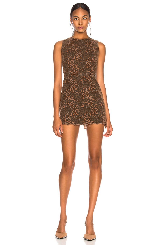 Image 2 of Alexander Wang Zip Dress in Tan Leopard Print