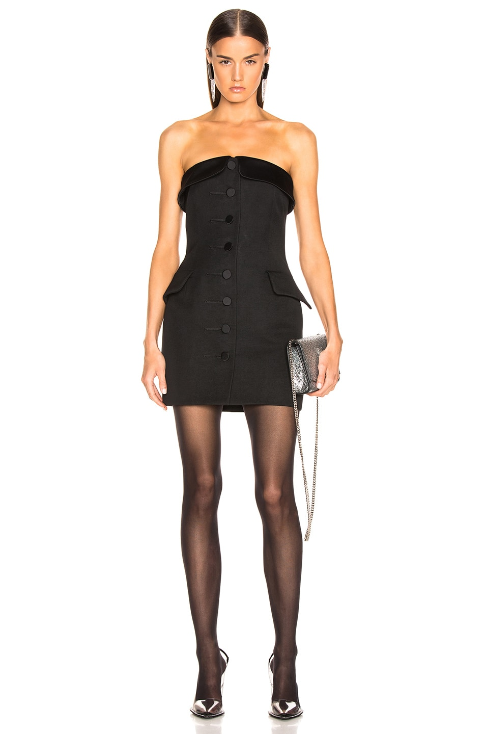 Image 1 of Alexander Wang Strapless Tuxedo Dress in Black