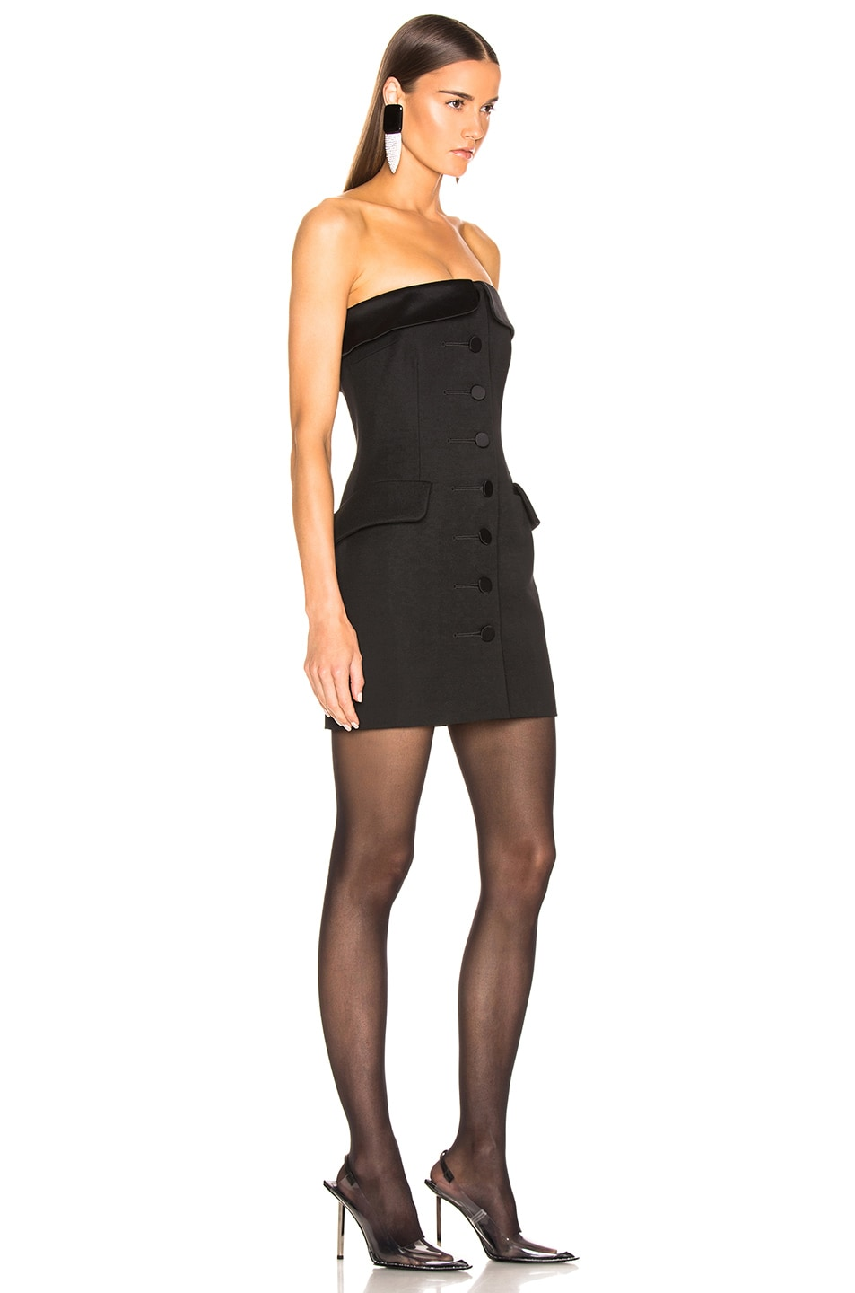 Image 2 of Alexander Wang Strapless Tuxedo Dress in Black