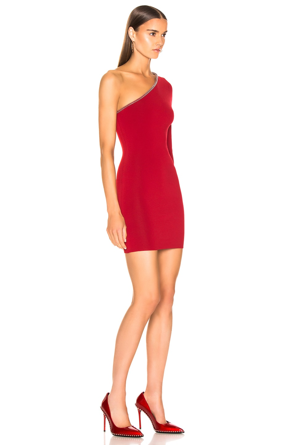 Image 2 of Alexander Wang Asymetrical Ball Chain Dress in Red