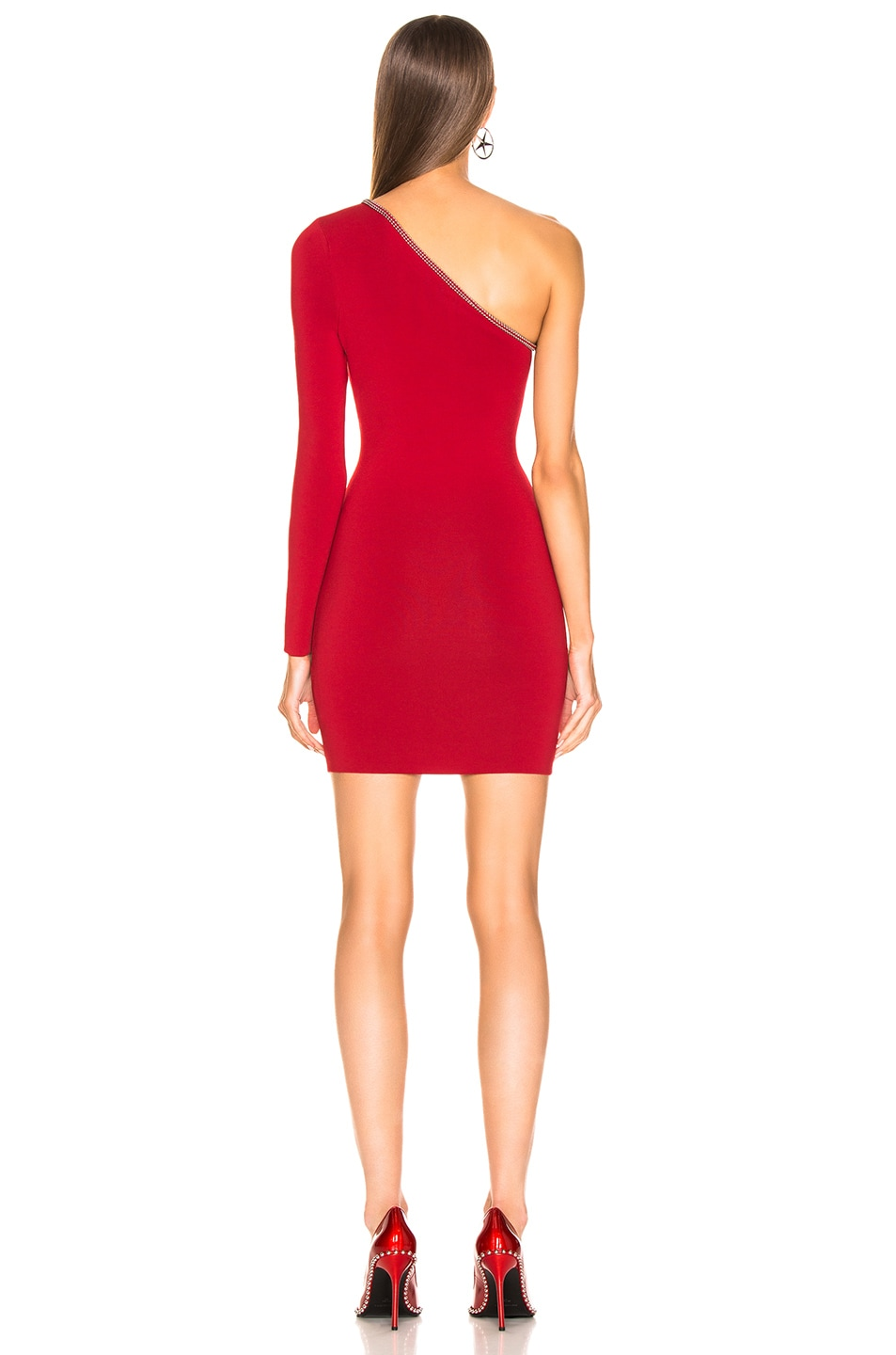 Image 4 of Alexander Wang Asymetrical Ball Chain Dress in Red