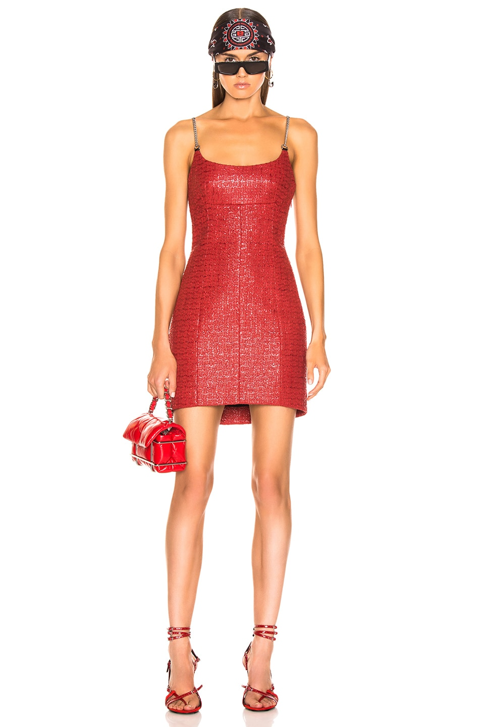 Image 1 of Alexander Wang Chain Strap Bodycon Dress in Red