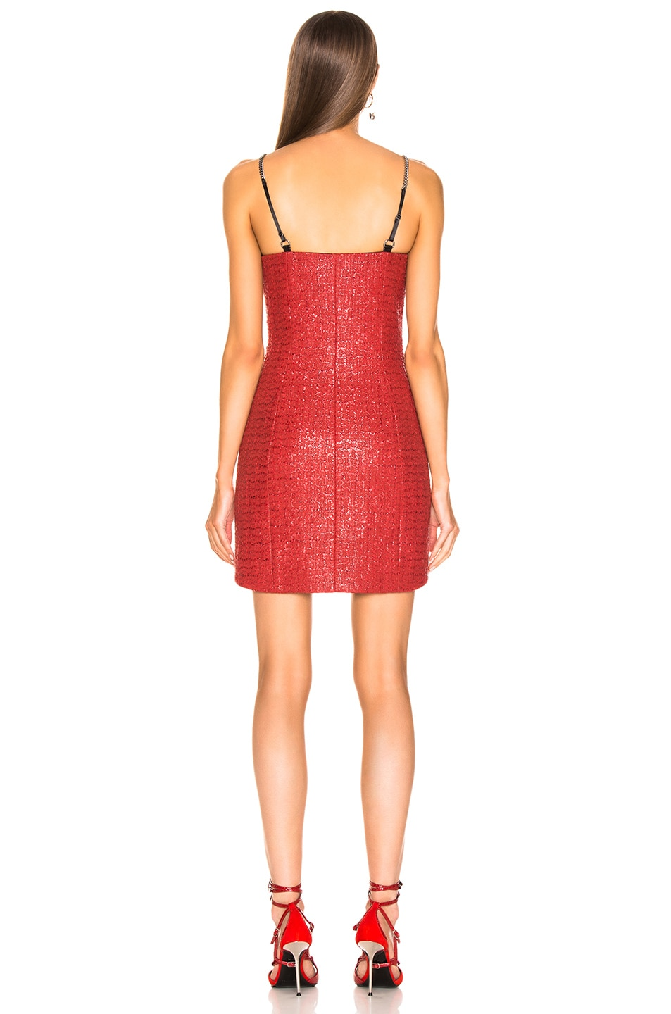 Image 3 of Alexander Wang Chain Strap Bodycon Dress in Red