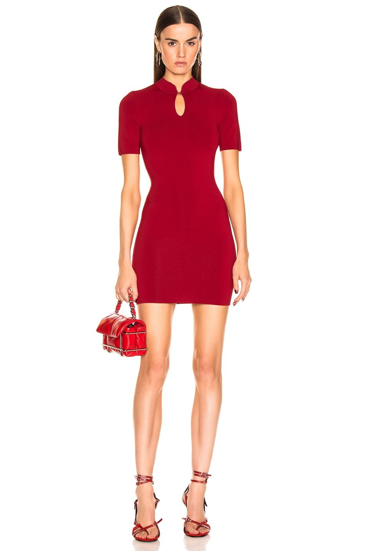 Image 1 of Alexander Wang Mandarin Collar Tee Dress in Red