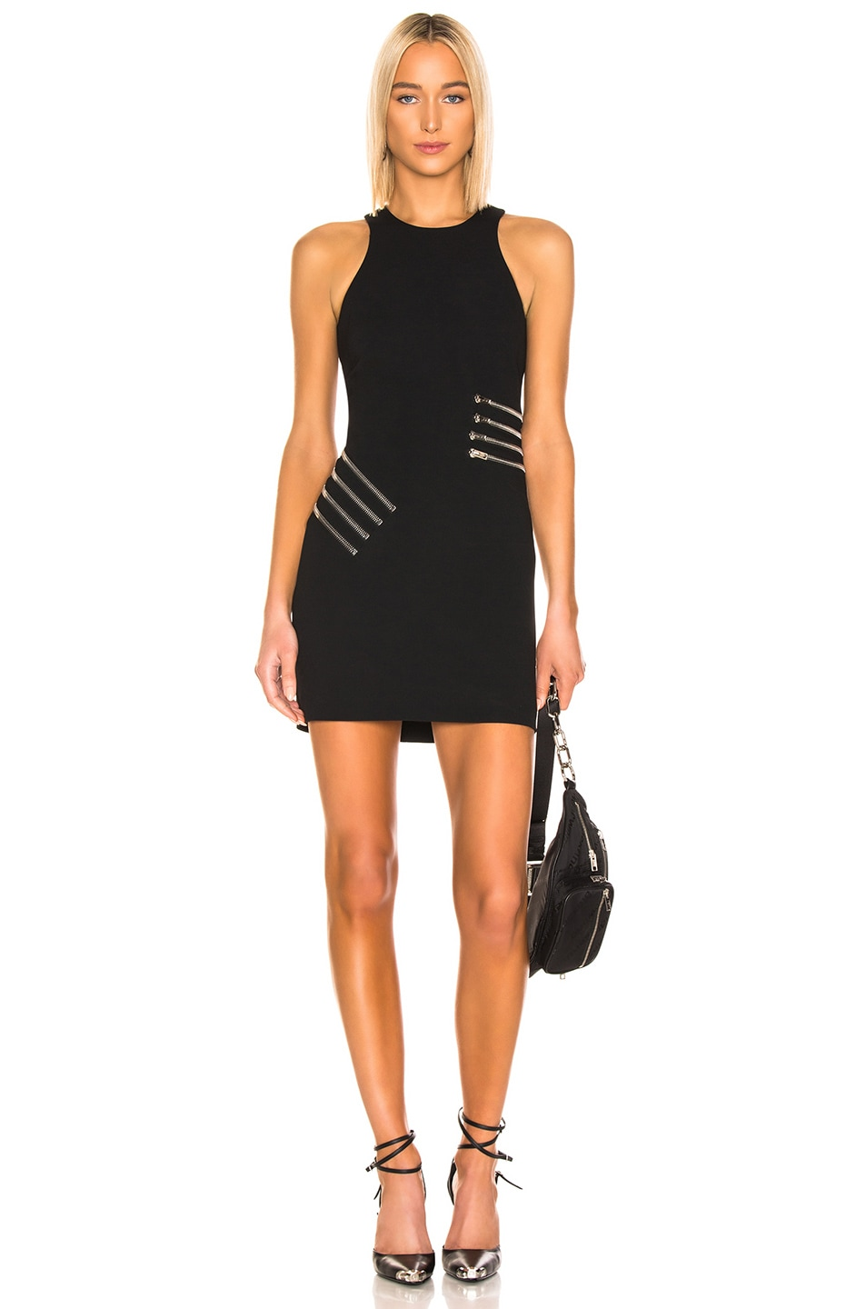 Image 1 of Alexander Wang Zipper Waist Mini Dress in Black