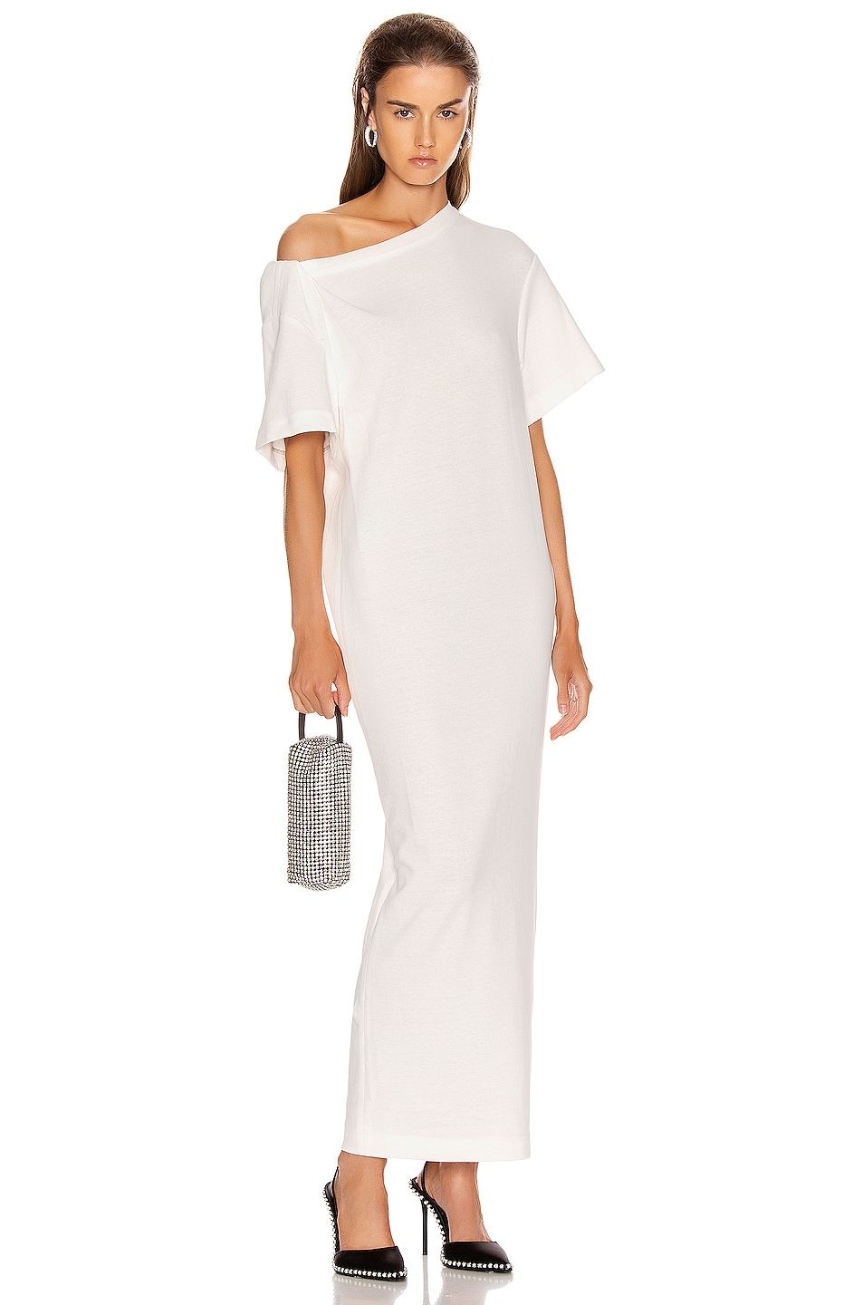 Image 1 of Alexander Wang Twisted Shoulder T Shirt Dress in White