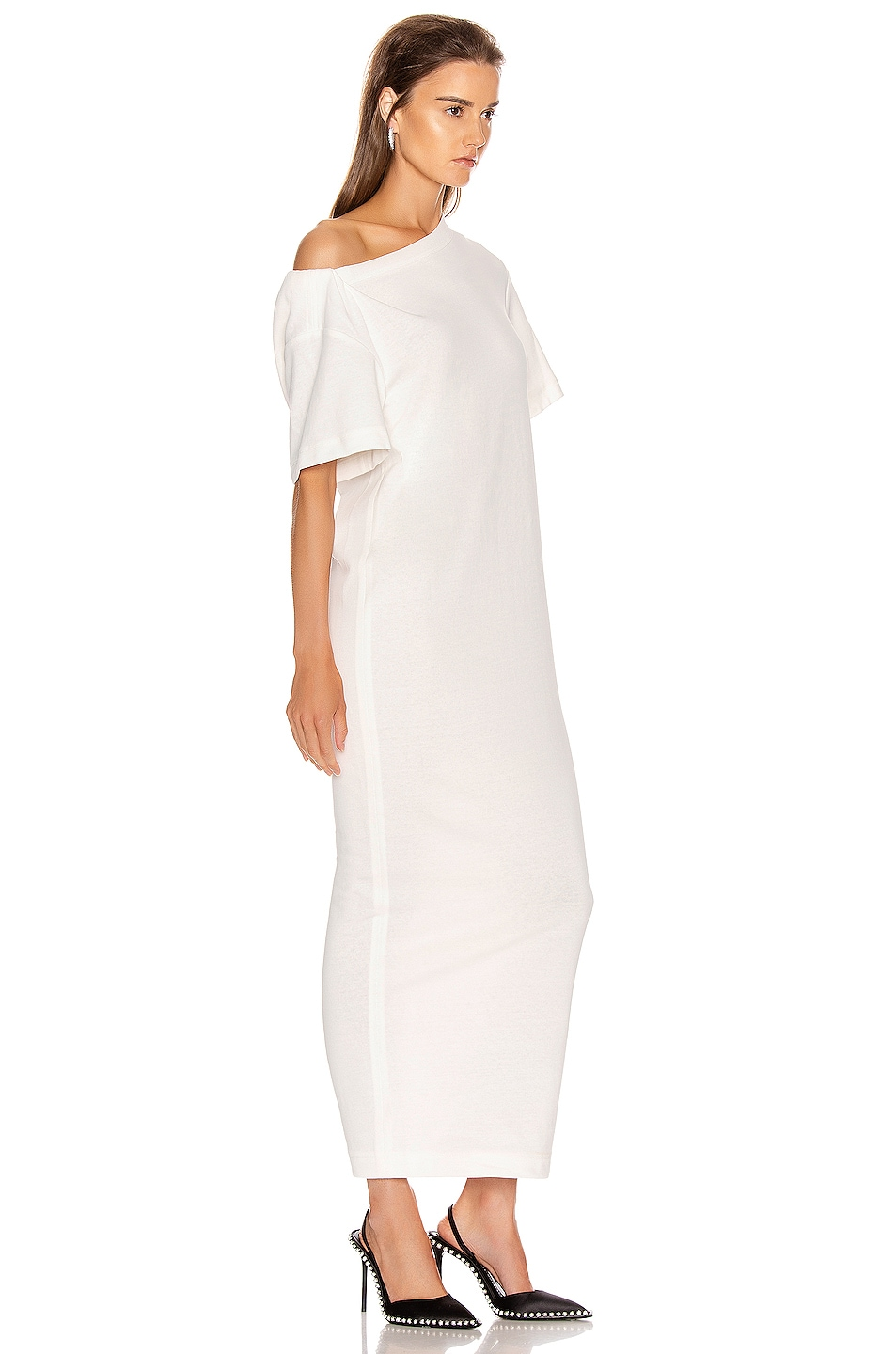 Image 2 of Alexander Wang Twisted Shoulder T Shirt Dress in White