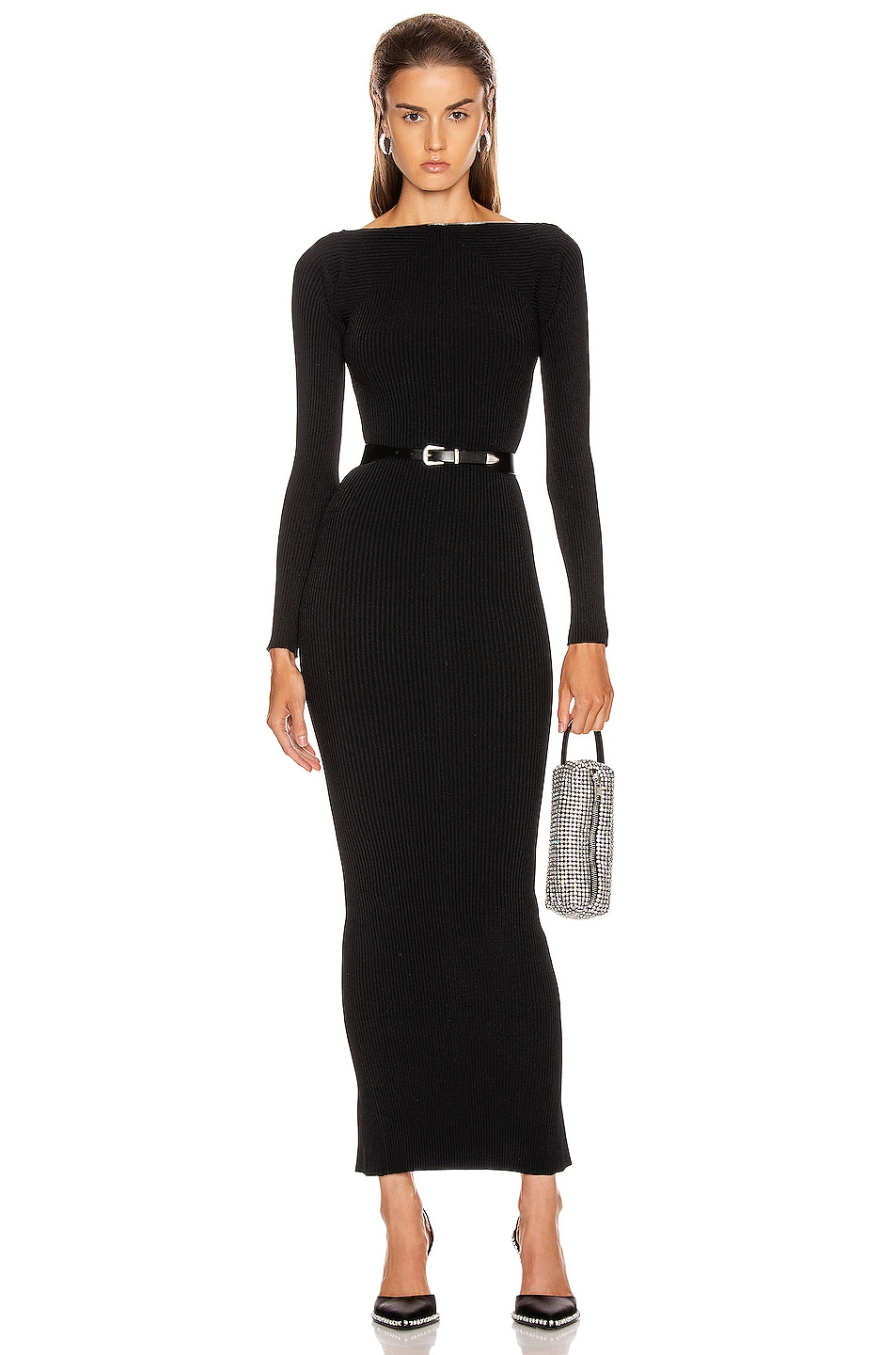 Image 1 of Alexander Wang Moving Rib Long Sleeve Dress in Black