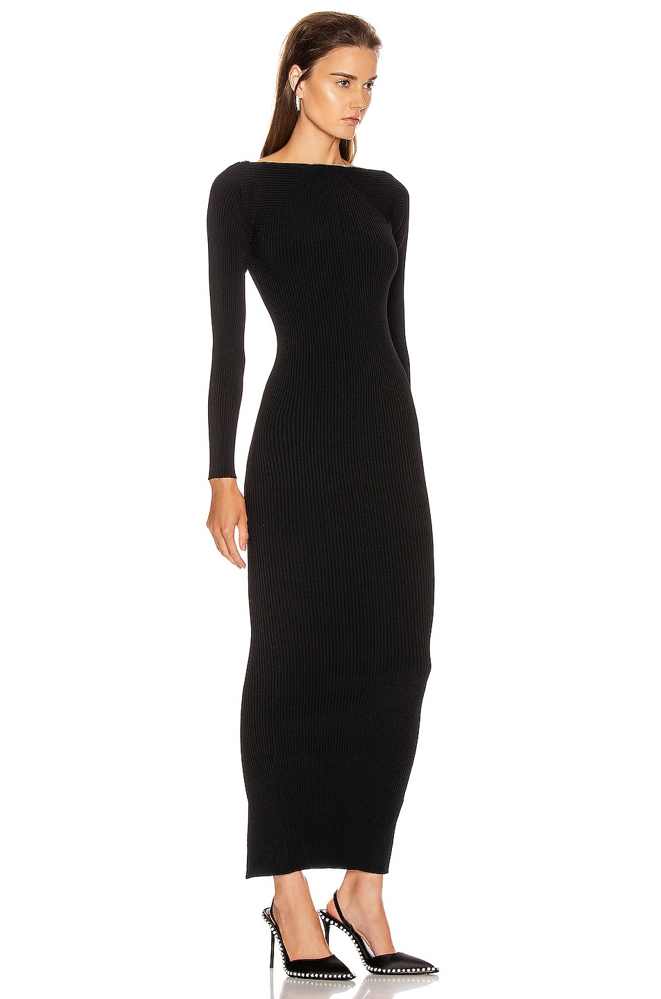 Image 2 of Alexander Wang Moving Rib Long Sleeve Dress in Black