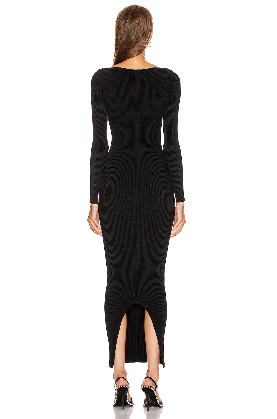 Image 3 of Alexander Wang Moving Rib Long Sleeve Dress in Black