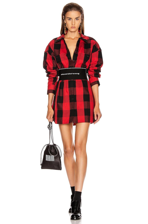 Image 1 of Alexander Wang Plaid Shirt Dress in Black & Red