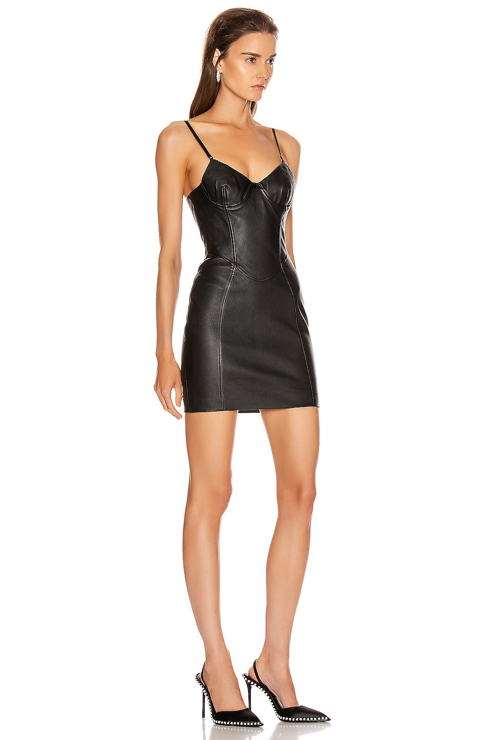 Image 2 of Alexander Wang Stretch Leather Dress in Black