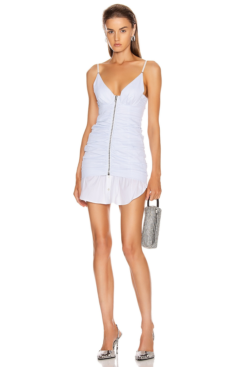 Image 1 of Alexander Wang Ruched Front Zipper Cami Dress in White & Blue Stripe