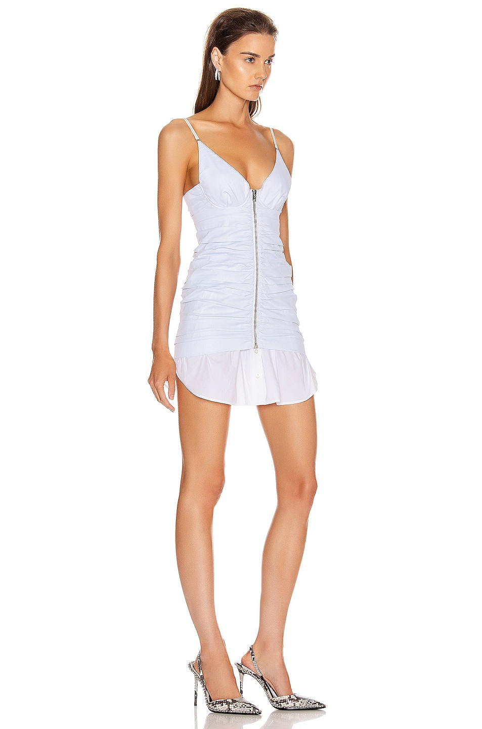 Image 2 of Alexander Wang Ruched Front Zipper Cami Dress in White & Blue Stripe