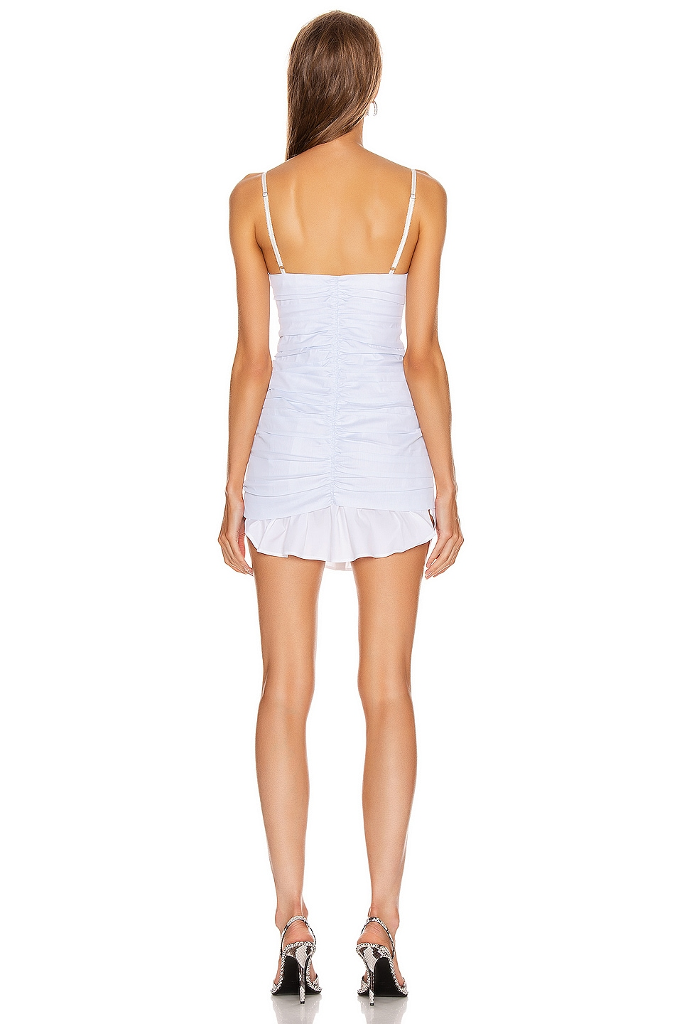 Image 3 of Alexander Wang Ruched Front Zipper Cami Dress in White & Blue Stripe