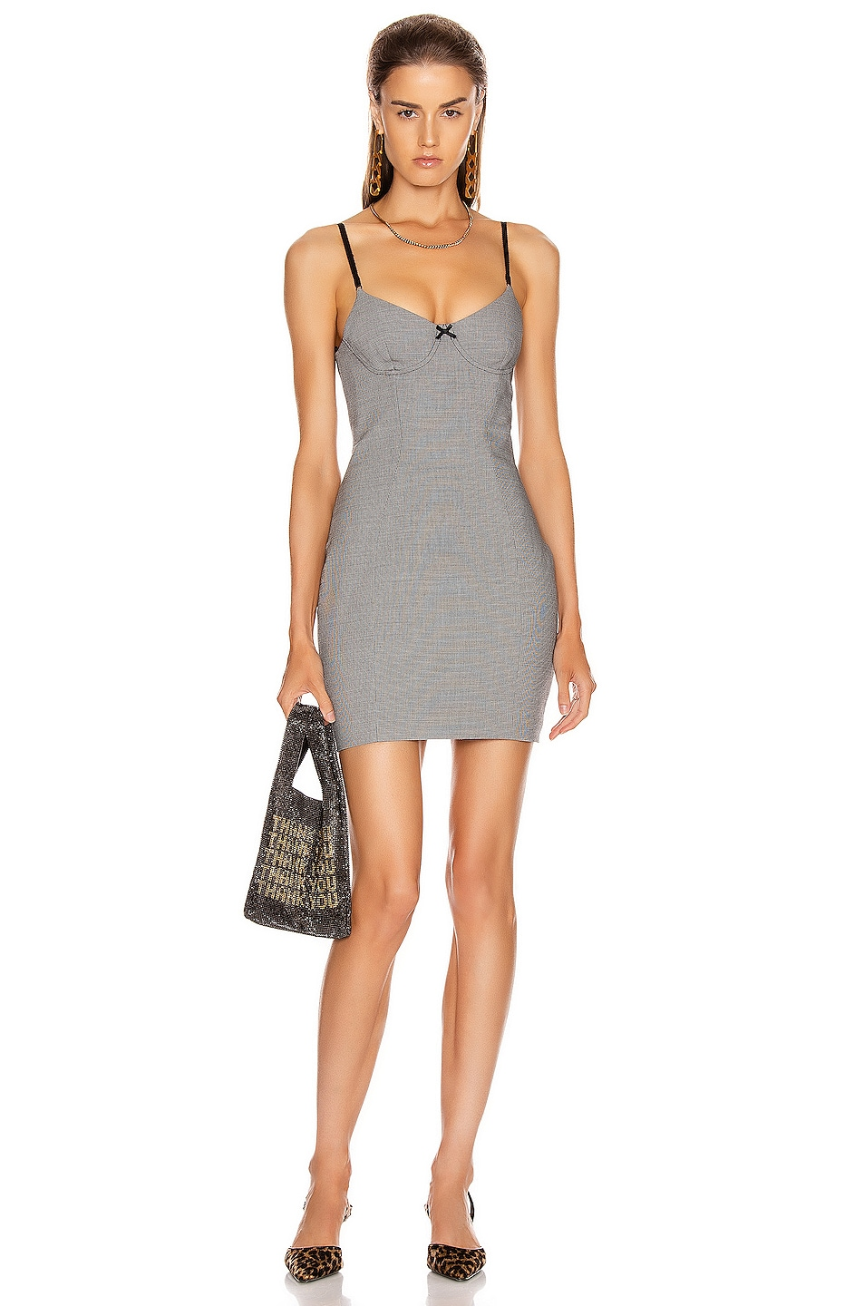 Image 1 of Alexander Wang Fitted Dress in Black & White Houndstooth