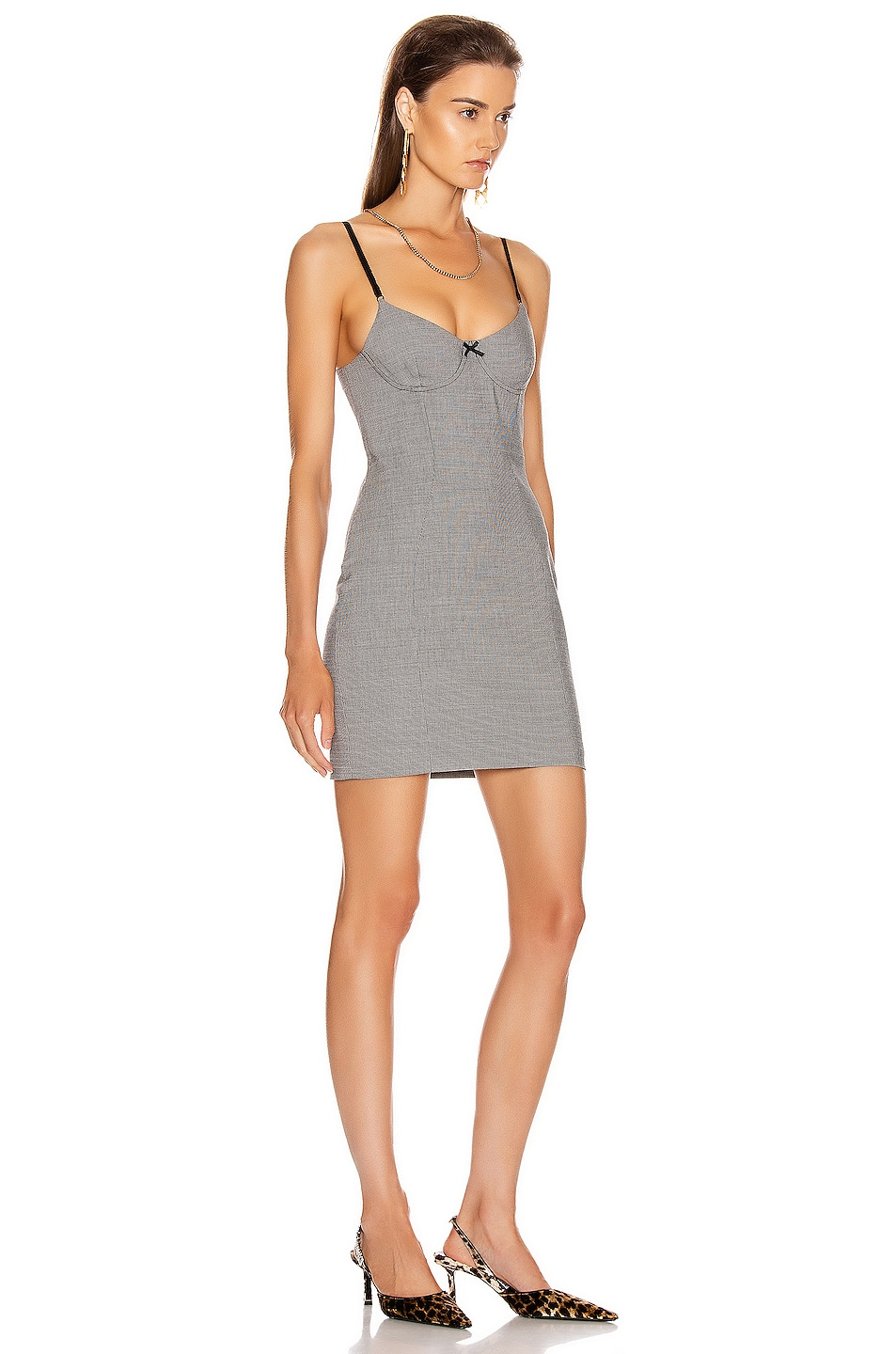 Image 2 of Alexander Wang Fitted Dress in Black & White Houndstooth