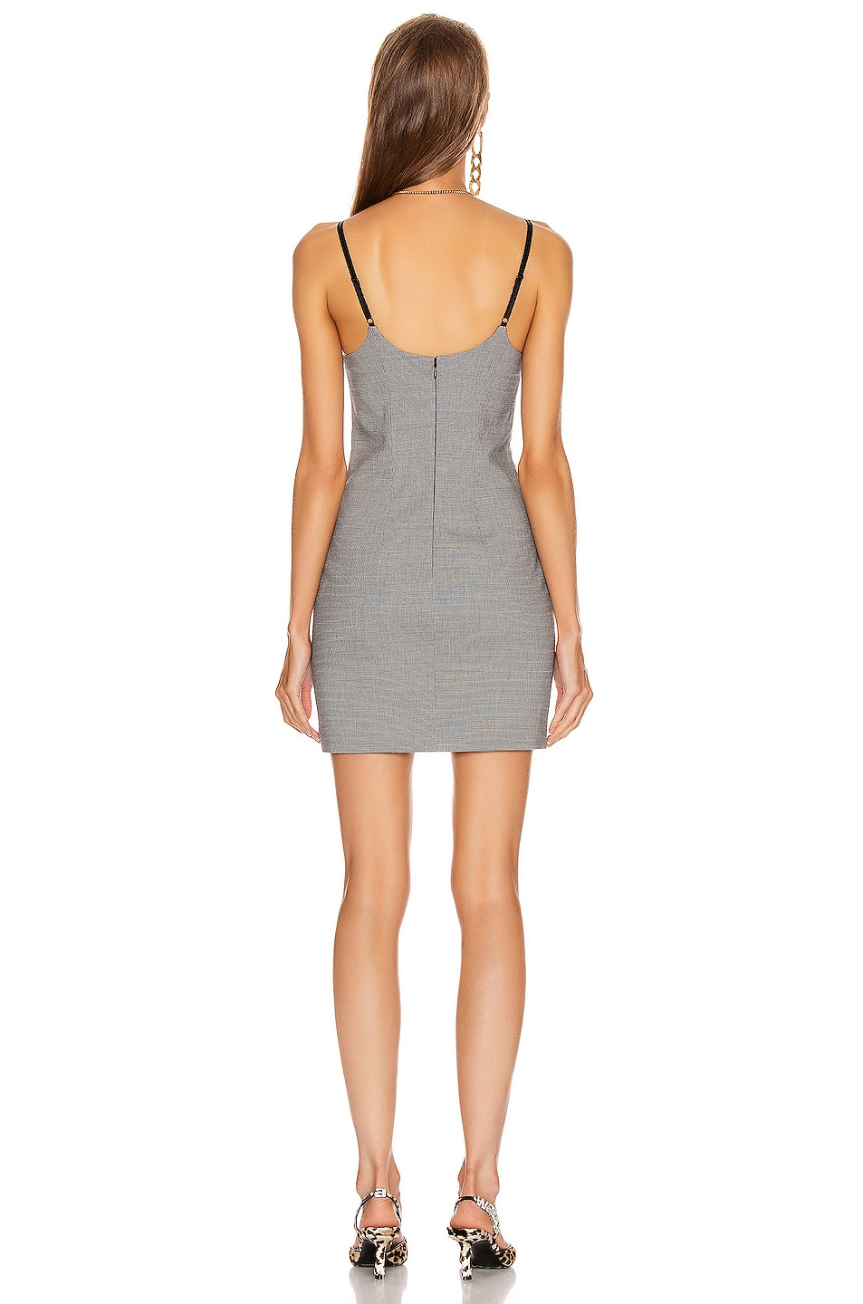 Image 3 of Alexander Wang Fitted Dress in Black & White Houndstooth