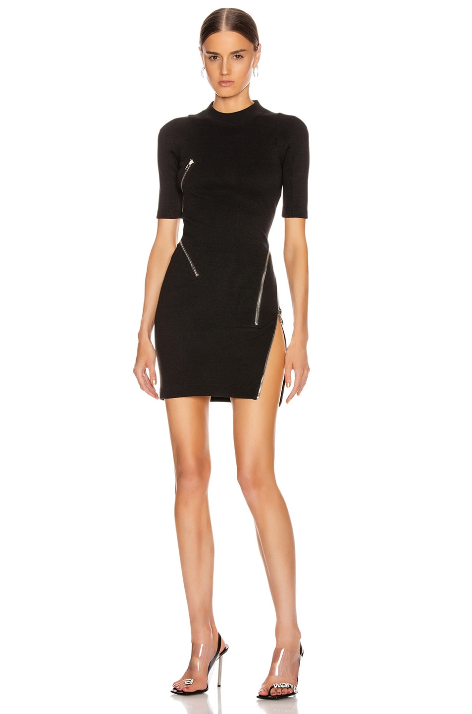 Image 1 of Alexander Wang Short Sleeve Traveling Zip Rib Dress in Black