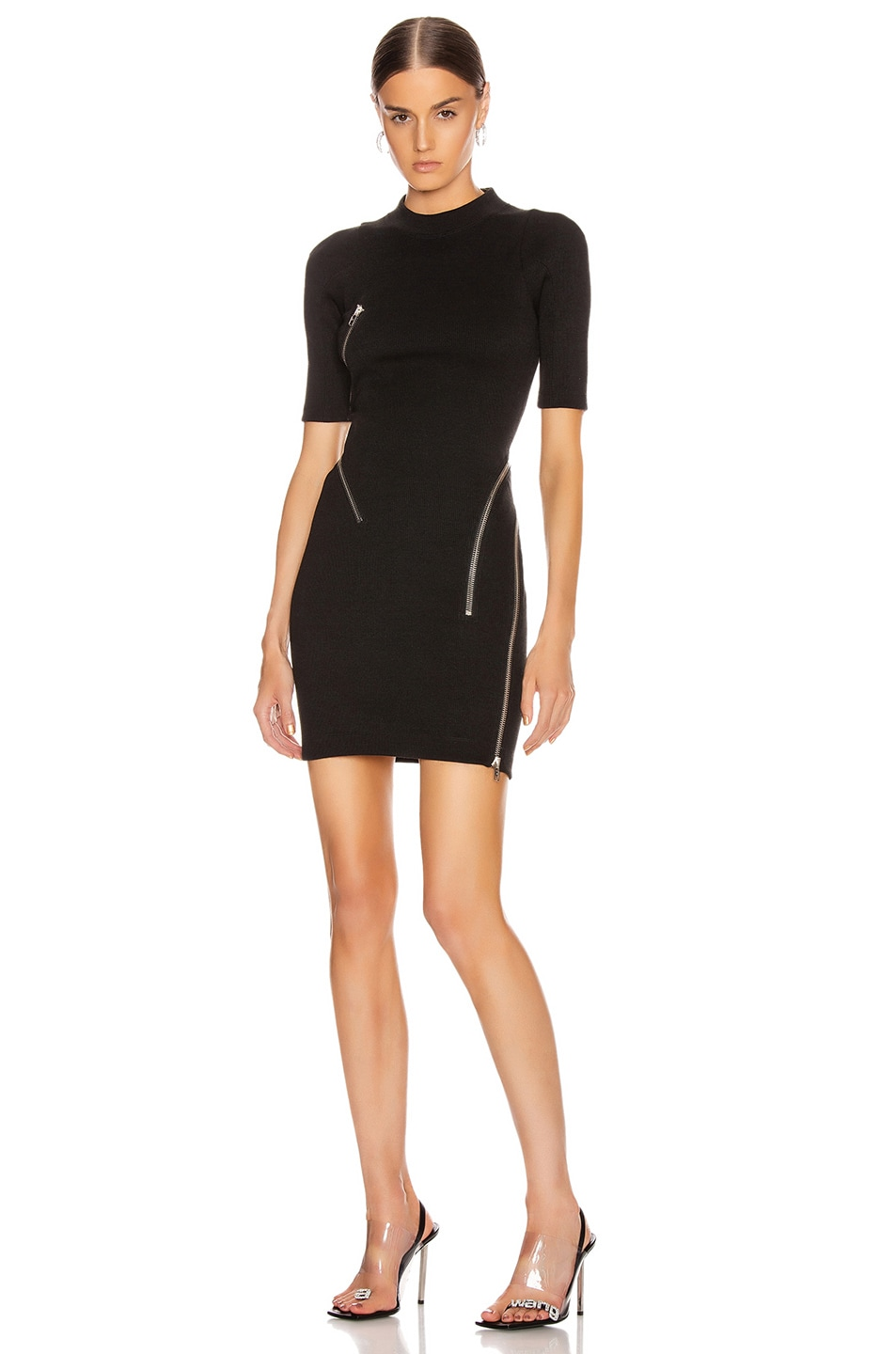 Image 2 of Alexander Wang Short Sleeve Traveling Zip Rib Dress in Black