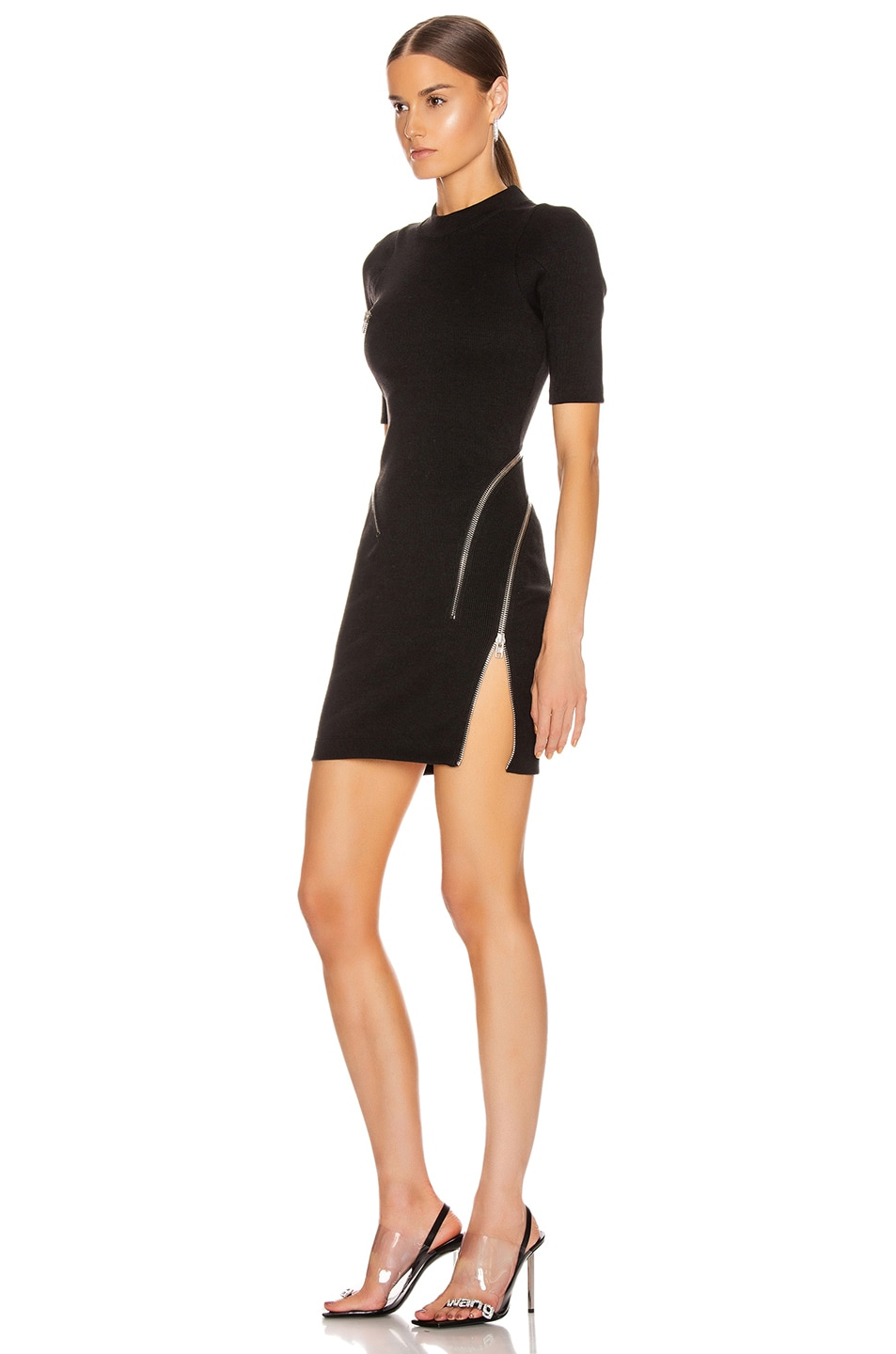 Image 4 of Alexander Wang Short Sleeve Traveling Zip Rib Dress in Black