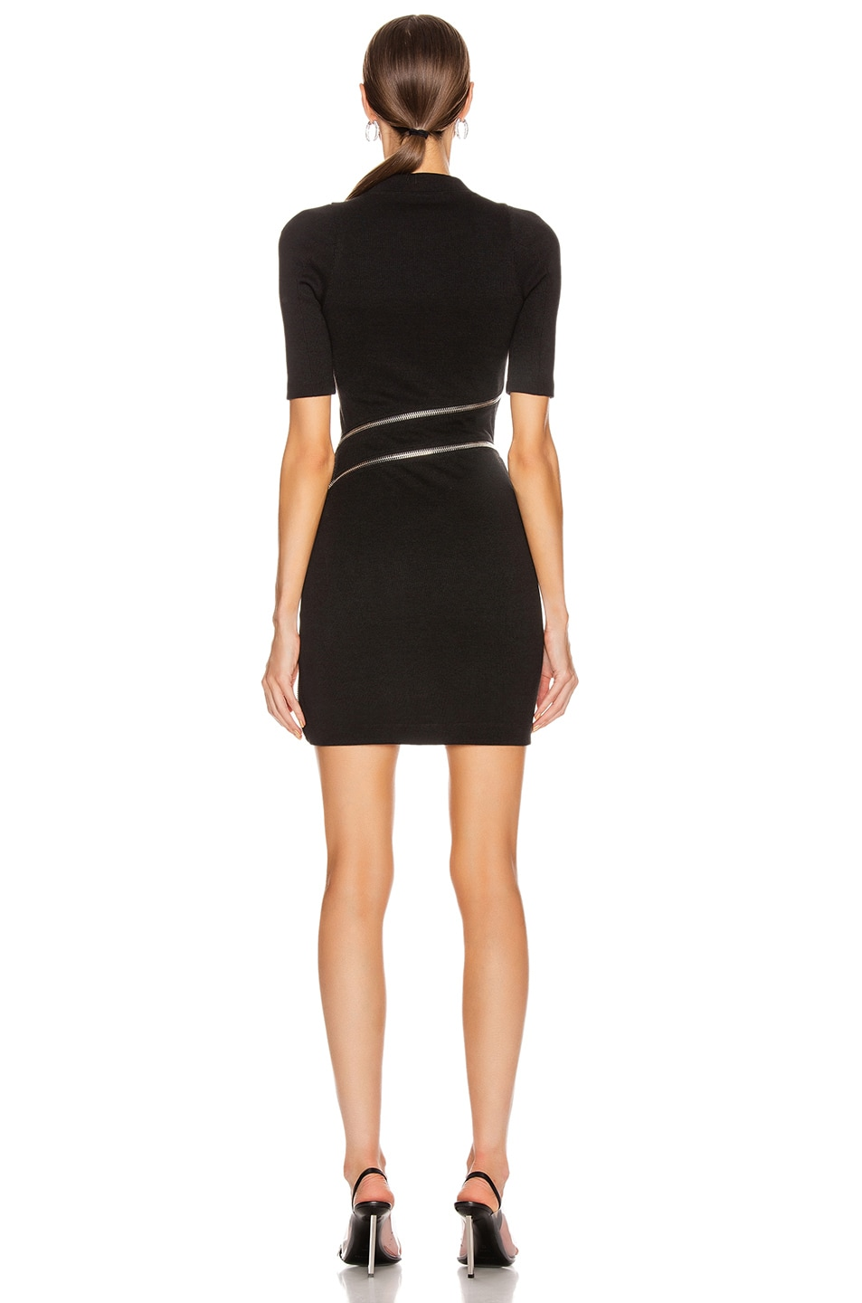 Image 5 of Alexander Wang Short Sleeve Traveling Zip Rib Dress in Black