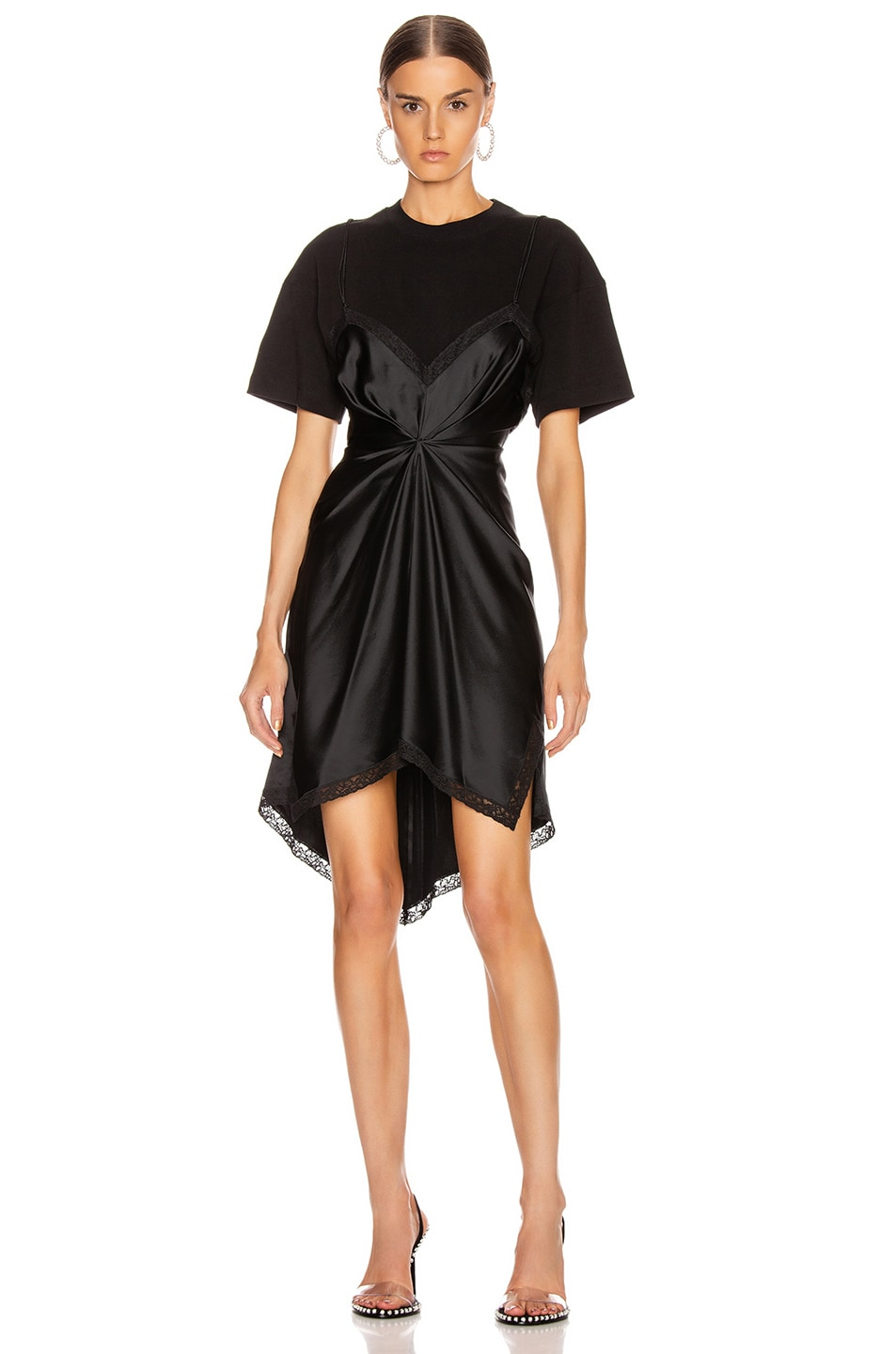 Image 1 of Alexander Wang Cinched T Shirt Slip Dress in Black