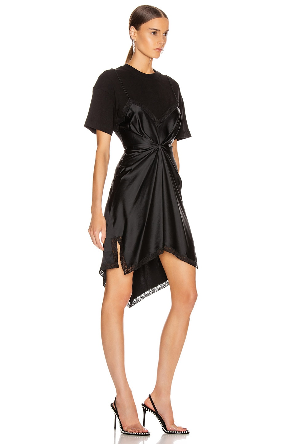 Image 2 of Alexander Wang Cinched T Shirt Slip Dress in Black
