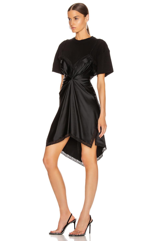 Image 3 of Alexander Wang Cinched T Shirt Slip Dress in Black