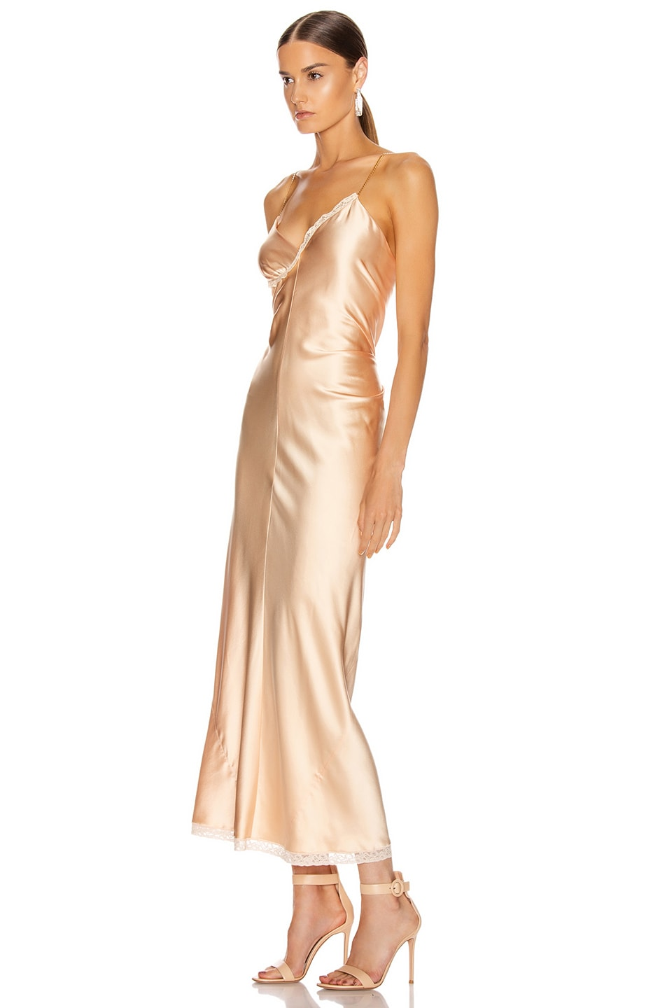Image 3 of Alexander Wang Ruched Slip Dress in Peach