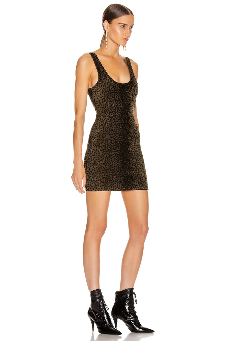 Image 2 of Alexander Wang Tank Mini Dress in Black & Gold