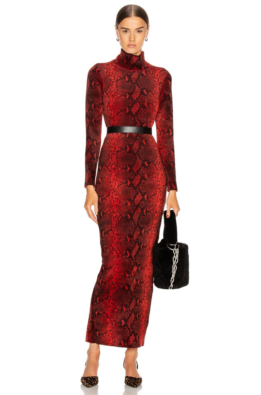 Image 1 of Alexander Wang Turtleneck Dress in Black & Red