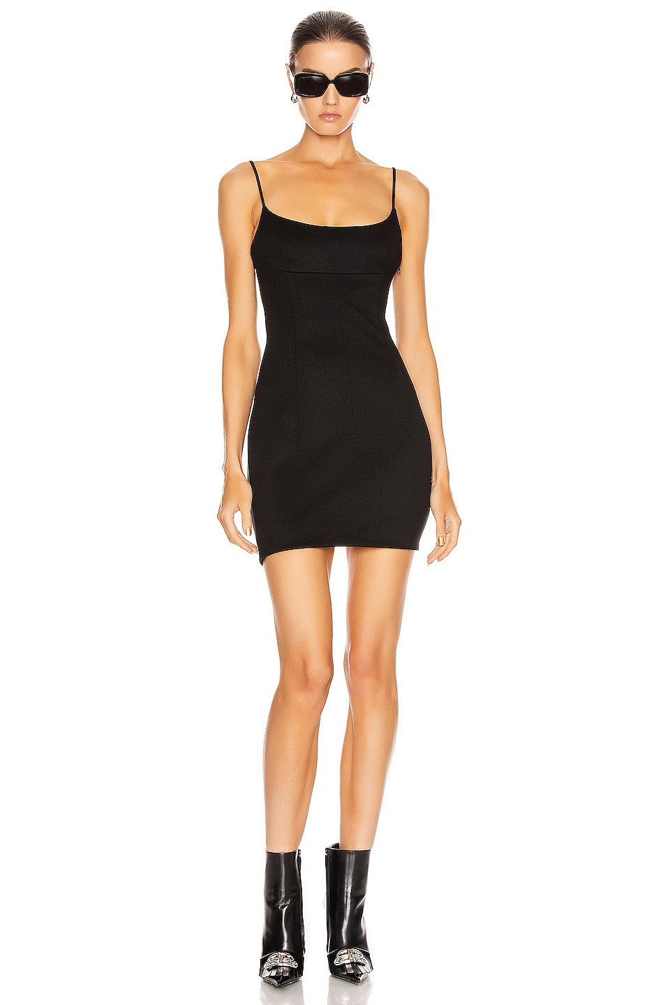 Image 1 of Alexander Wang Fitted Tailored Cami Dress in Black
